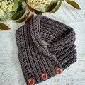 Grey Adult Ladies Vintage Hand Crochet Knitted Buttoned Neck warmer Cowl Scarf