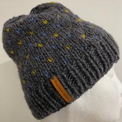 Knitted Grey alpaca beanie men's or ladies fair isle blue mustard heats pompom