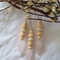 Set of 3 Crystal & Wood Bead Decorations | Rose Quartz