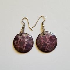 Purple and Pastel Pink Crackle Enamel Earrings