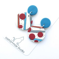 Dotty Blue and red Polymer Clay drop earrings