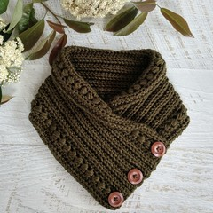 Olive Green Adult Ladies Vintage Hand Crochet Knit Button Neckwarmer Cowl Scarf