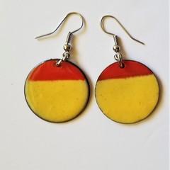 Butter and Flame Enamel Earrings