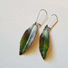 Hand crafted Leaf Enamel Earrings Greens and Cream