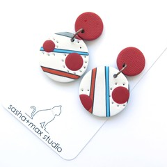 Dotty Red and Blue Polymer Clay drop earrings