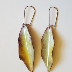 Handcrafted Leaf Enamel Earrings - Pastel Lemon and Cream