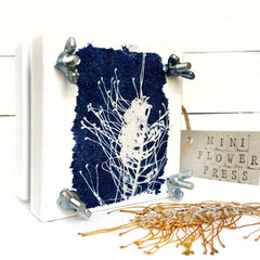 Handmade Mini Flower Press with Botanical Cyanotype Artwork of  Grevillea Flower