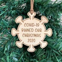 Covid-19, 2020 Christmas wooden ornament