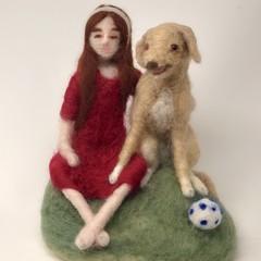 Needle felted art doll, needle felted Labrador dog, waldorf soft sculpture