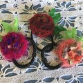 Ponytail elastics, hair ties, flower hair accessories, silk flowers