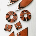 Hand Painted Wooden Rust Black White Statement Boho Drop Earrings