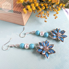 Silver and Tiffany Blue Floral Dangle Earrings.