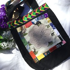 Girls black tote bag with vintage doily