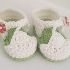 Baby Shoes/Booties - White 'n' Lime