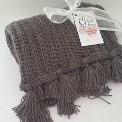 Gunmetal Grey Crochet Blanket