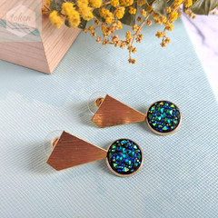 Gold Polygon Shape Stud with Bling Imitation Crystal Exquisite Earrings