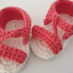 Baby Shoes/Booties - Coral 'n' White