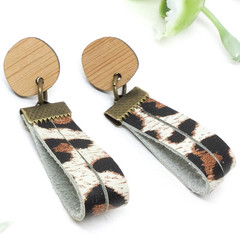 Leopard print Leather earrings, repurposed leather