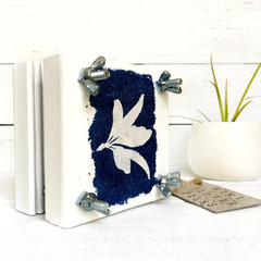 Flower Press, decorated with botanical art original cyanotype, blue and white