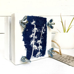 Handmade Mini Flower Press with Botanical Cyanotype Art of  Native Wildflowers