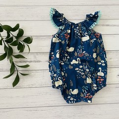 Swans Seaside Romper, Size 0, Baby Girl Romper, Baby Girls Playsuit