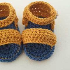 Baby Sandals/Booties - Blue 'n' Mustard