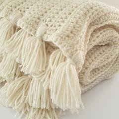 Beautiful Lux Natural Crochet Blanket