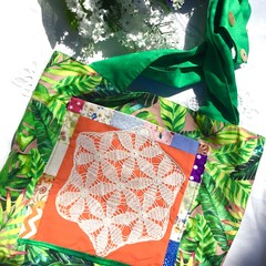Girls green and orange tote