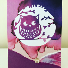 Purple owl card