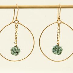 Japanese Mizuhiki (mint green) hoop earrings