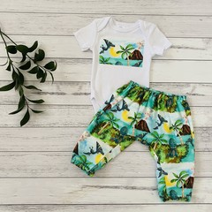 Dinosaur two piece set, Size 000, shirt and pants, baby boys outfit
