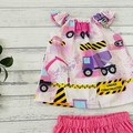 Pink trucks two piece set, Size 0, shirt and pants, baby girls outfit