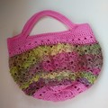 Small Crochet Handbag - Pink & Khaki