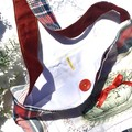 Girls red, white and blue check shoulder tote