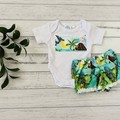 Dinosaur two piece set, Size 0000, shirt and pants, baby boys outfit