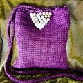 Lush plum coloured Tunisian crochet wool pouch