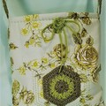Beautifully soft mint & lime vintage sateen fabric satchel