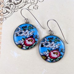 Women's large round resin drop stainless steel earrings blue pink floral print