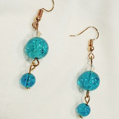 Delicate Dreamy Turquoise dangle earrings.(Mostly Turquoise)