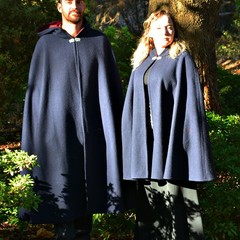Short Navy Wool Blend Cloak