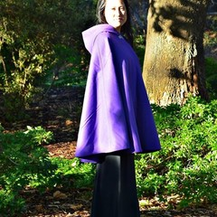 Short Lilac Pure Wool Cloak