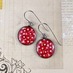 Women's large round resin drop stainless steel earrings red white pattern art
