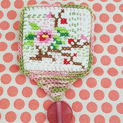 Green pink pretty cross stitch and quilted brooch