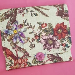 Vintage Chintz bird fabric clutch
