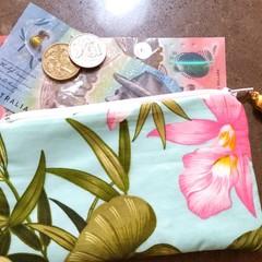 Pale blue floral coin purse