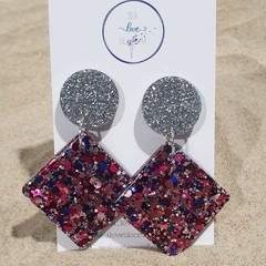 """Large Funky Drop Dangles - Silver & """"Clueless"""" Pink / Purple"""