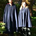 Short Navy Wool Blend Cloak