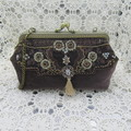 Women's Ladies Clutch Purse - Evening/Wedding/Cocktail - Cotton Velvet w Beading