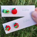 Apple and caterpillar stud earrings