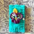 Vibrant aqua quilted velvet needle keep